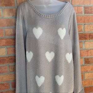 LC Lauren Conrad Heart Embellished Knit Sweater